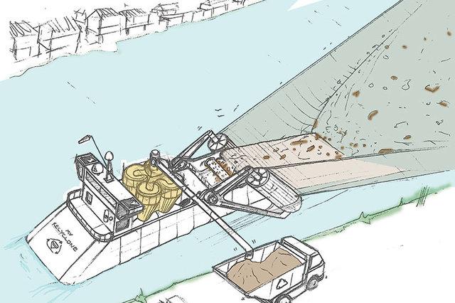 Гигантский плавучий вакуумyный пылесос для очистки рек